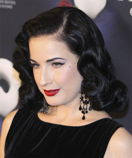 Dita Von Teese Medium Wavy Formal Hairstyle - Black Hair Color - side view