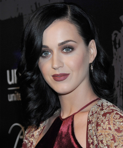 Katy Perry Medium Wavy Formal Hairstyle - Black (Ash) Hair Color - side on view