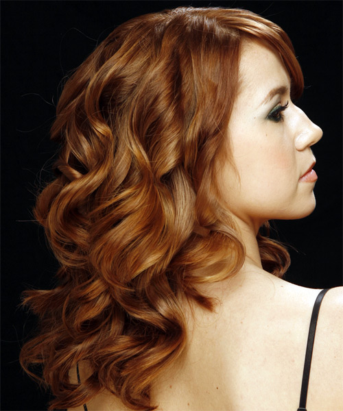 Long Wavy Formal Hairstyle - Medium Brunette (Auburn) Hair Color - side on view