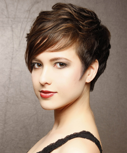 Short Wavy Formal Hairstyle - Dark Brunette Hair Color - side on view
