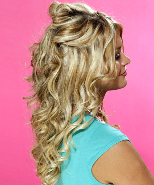 Curly Formal Half Up Hairstyle - Medium Blonde (Golden) Hair Color - side on view