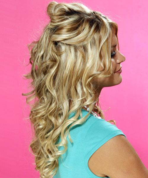 Remarkable Half Up Curly Formal Hairstyle Medium Blonde Golden Short Hairstyles For Black Women Fulllsitofus