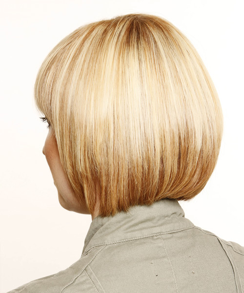 Short Straight Formal Bob Hairstyle with Layered Bangs - Medium Blonde (Honey) Hair Color - side on view