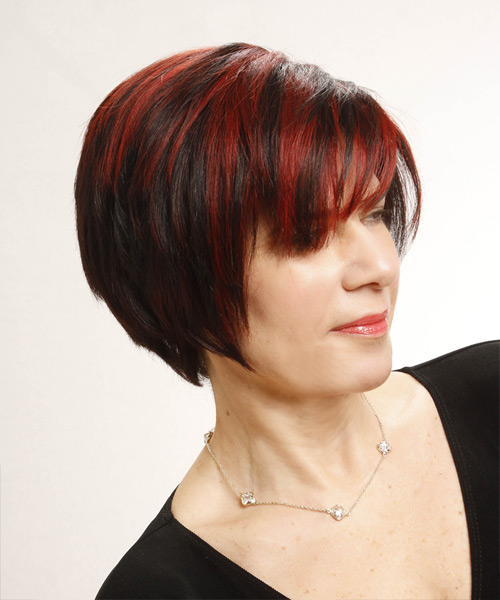 Short Straight Casual Hairstyle - Black Hair Color - side on view