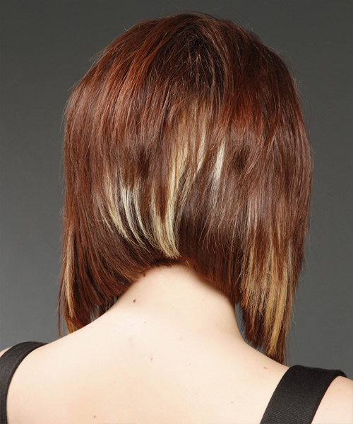 Medium Straight Formal Bob Hairstyle - Medium Red (Mahogany) - side view 2