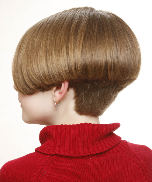 Short Straight Formal Bob Hairstyle - Light Brunette (Caramel) - side view 2