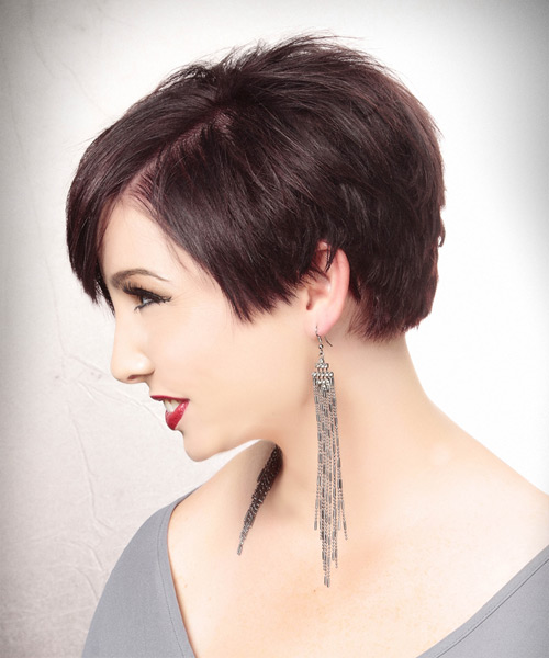 Short Straight Alternative Asymmetrical Hairstyle - Dark Red (Plum) Hair Color - side on view