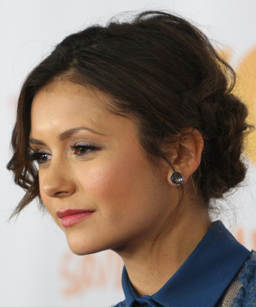 Nina Dobrev Curly Casual Updo Hairstyle - Dark Brunette Hair Color - side on view