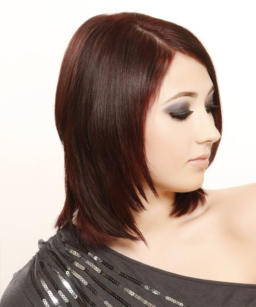 Medium Straight Formal Hairstyle - Dark Red (Burgundy) - side view 2