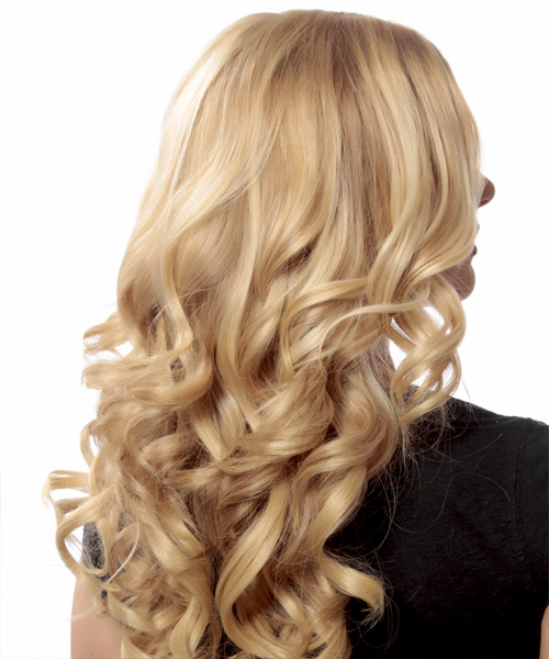 Long Wavy Formal Hairstyle - Light Blonde (Strawberry) Hair Color - side on view