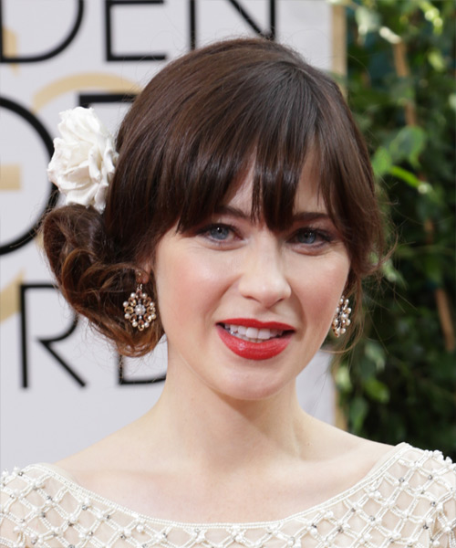 Zooey Deschanel Curly Formal Updo Hairstyle with Blunt Cut Bangs - Dark Brunette (Chocolate) Hair Color - side on view