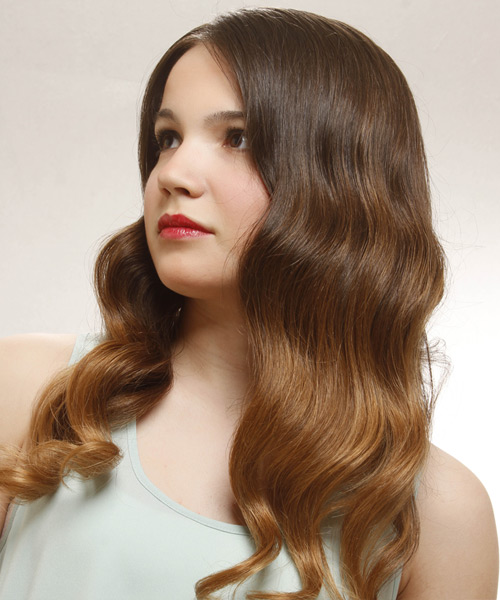Long Wavy Formal Hairstyle - Medium Brunette Hair Color - side on view