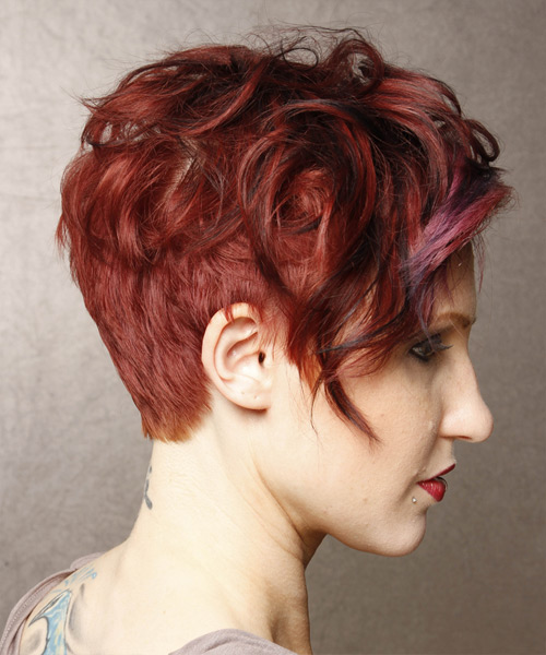 Short Wavy Casual  - Medium Red - side on view
