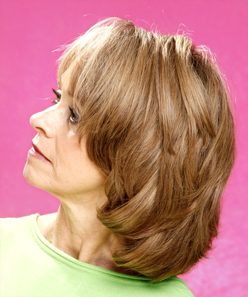Medium Straight Formal Hairstyle - Dark Blonde - side view 2