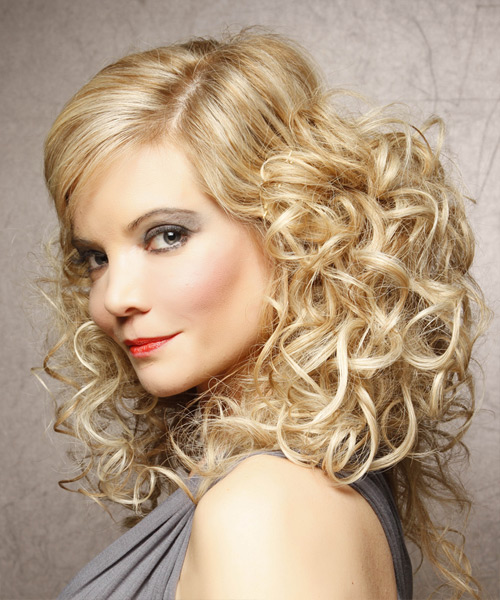Half Up Long Curly Formal Half Up Hairstyle - Light Blonde (Honey) Hair Color - side view
