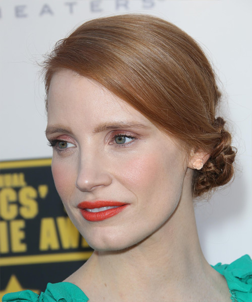 Jessica Chastain  Straight Formal Updo Hairstyle - Light Red (Copper) Hair Color - side on view