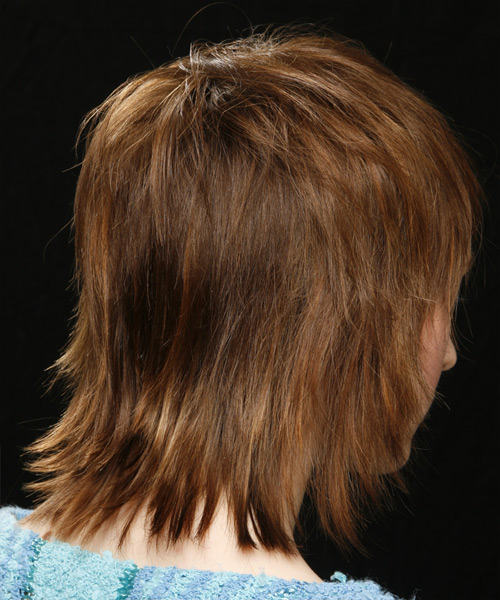 Medium Straight Casual Hairstyle - Light Brunette (Chestnut) - side view 2