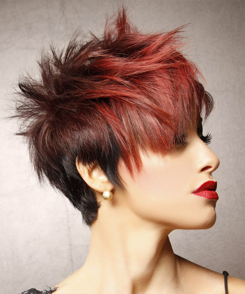 Short Straight Alternative Hairstyle - Medium Red - side view