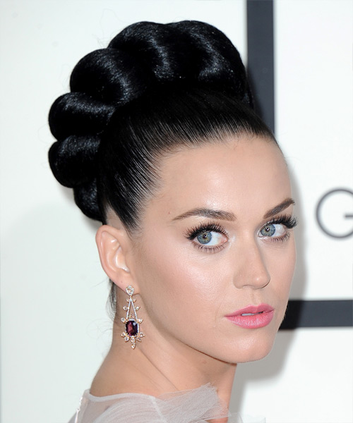 Katy Perry Straight Formal Updo Hairstyle - Black Hair Color - side on view