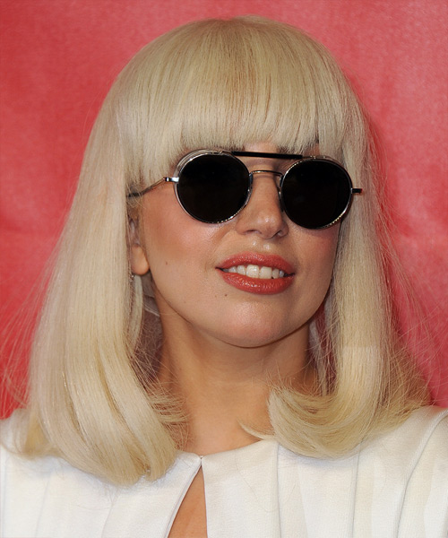 Lady GaGa Medium Straight Hairstyle - Light Blonde (Honey) - side view 2
