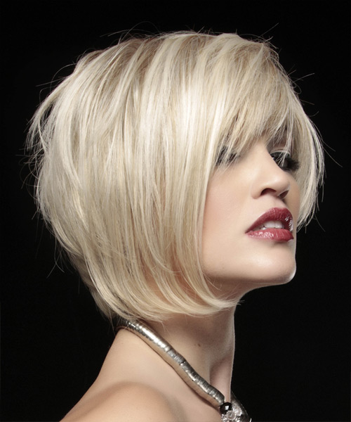 Short Straight Alternative Asymmetrical - Light Blonde (Strawberry) - side on view