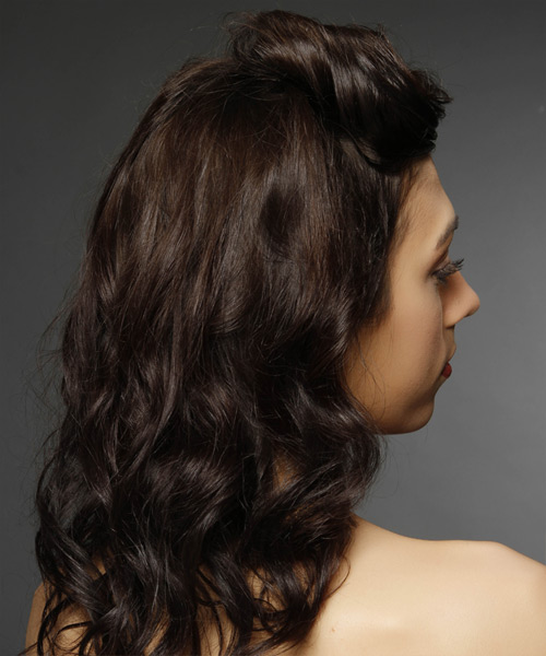Updo Medium Curly Casual Half Up Hairstyle - Dark Brunette Hair Color - side on view