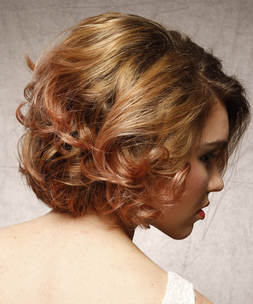 Short Curly Formal  - Medium Brunette (Strawberry) - side on view
