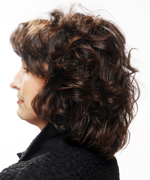 Medium Curly Casual Hairstyle with Layered Bangs - Black Hair Color - side on view