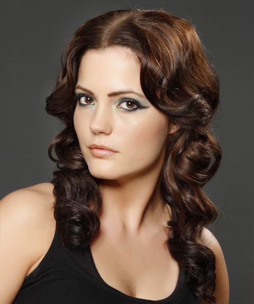 Long Wavy Formal Hairstyle (Chocolate) - side view