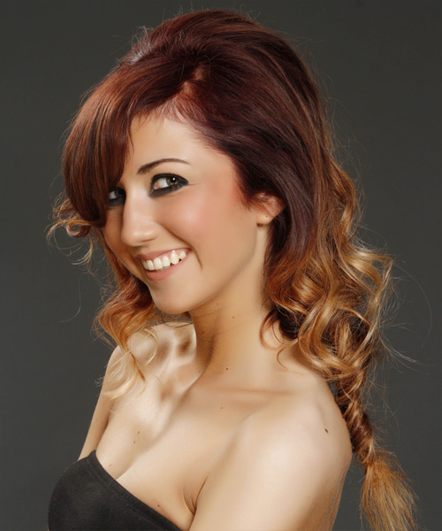 Casual Curly Half Up Hairstyle - Medium Brunette (Burgundy) - side view 2