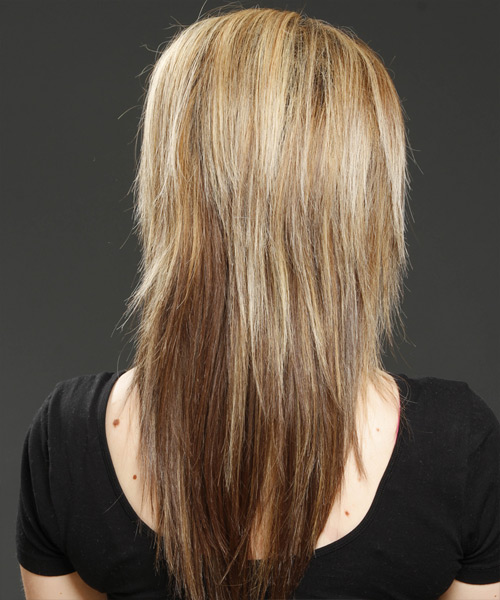 Long Straight Formal Hairstyle with Side Swept Bangs - Light Brunette (Golden) Hair Color - side on view