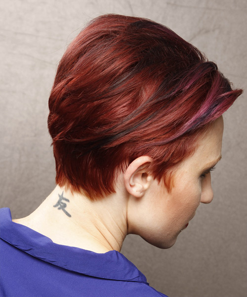 Short Straight Casual Hairstyle - Medium Red - side view 2