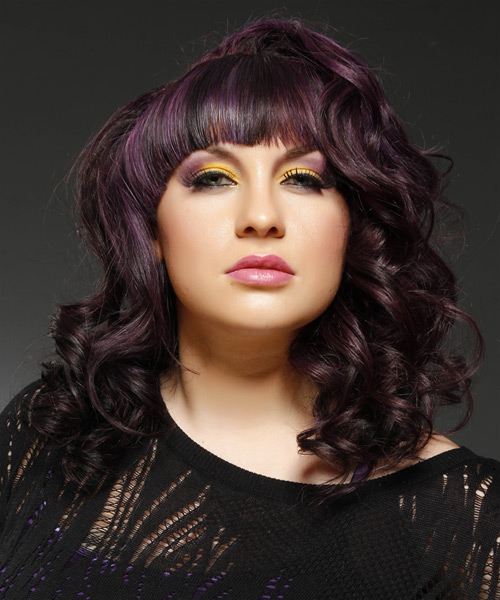 Medium Wavy Formal Hairstyle with Blunt Cut Bangs - Purple (Plum) Hair Color - side on view