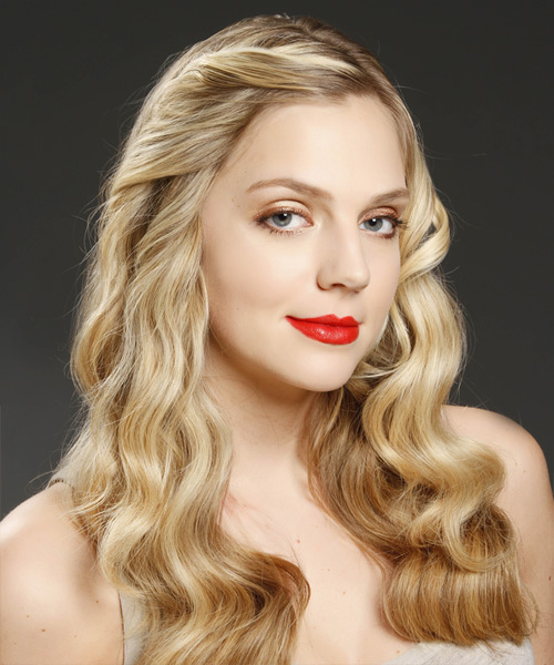 Long Wavy Casual Hairstyle - Medium Blonde Hair Color - side on view