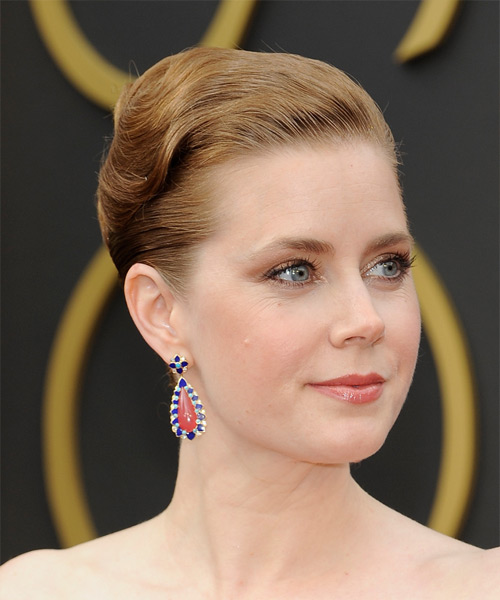 Amy Adams Straight Formal Updo Hairstyle - Dark Blonde (Strawberry) Hair Color - side on view