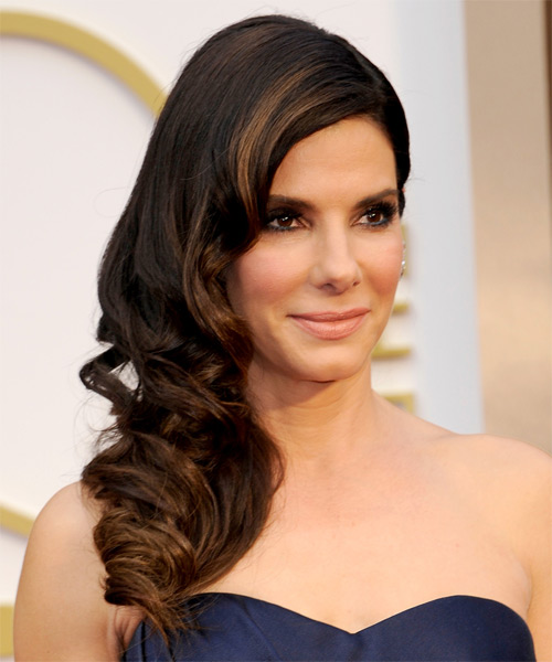 Sandra Bullock Long Wavy Hairstyle - Dark Brunette (Mocha) - side view
