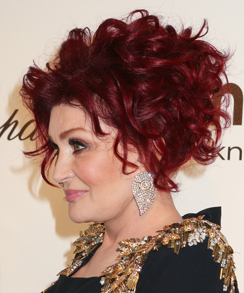 Sharon Osbourne Formal Curly Updo Hairstyle - Medium Red - side view 2