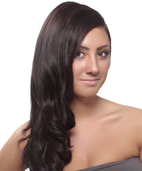 Long Wavy Formal Hairstyle - Dark Brunette (Plum) Hair Color - side on view