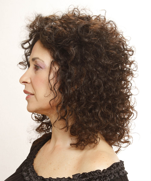 Medium Curly Casual Hairstyle - Medium Brunette - side view 2