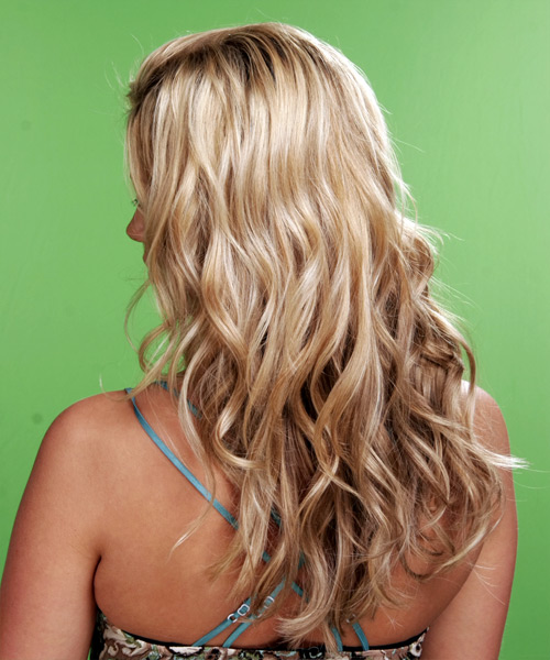 Long Wavy Casual Hairstyle - Medium Blonde - side view 2