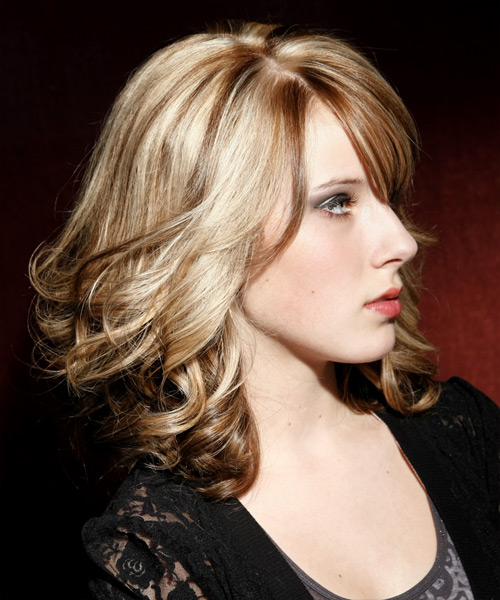 Medium Wavy Formal Hairstyle with Side Swept Bangs - Medium Blonde (Champagne) Hair Color - side on view