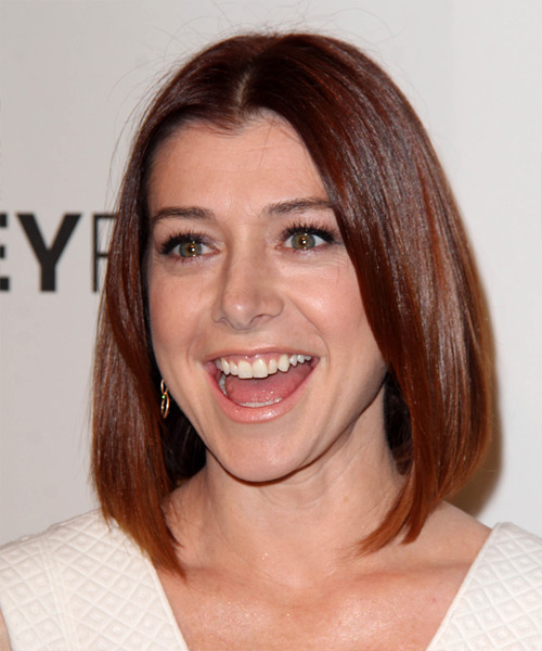 Alyson Hannigan Medium Straight Casual Bob Hairstyle - Medium Red Hair Color - side on view