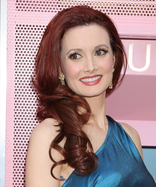 Holly Madison Long Wavy Formal Hairstyle - Medium Red (Burgundy) Hair Color - side on view