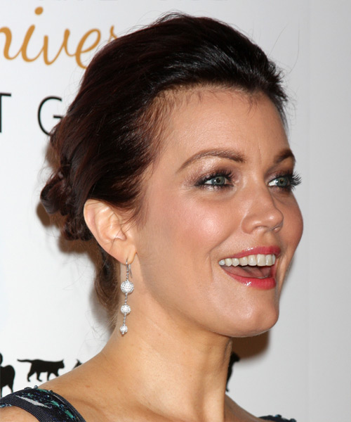 Bellamy Young Casual Straight Updo Hairstyle - Dark Brunette - side view 2