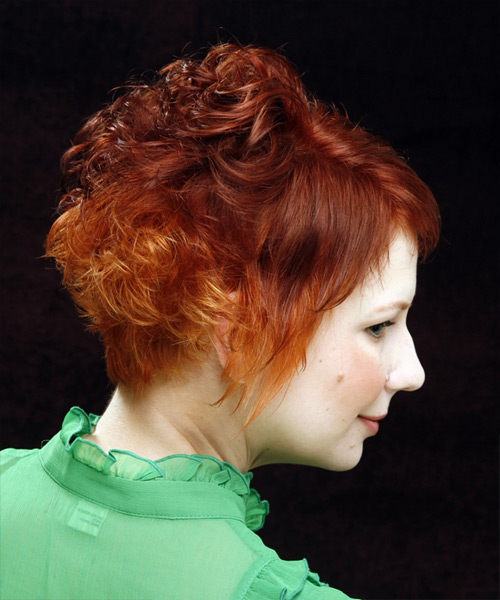Short Curly Casual Hairstyle with Side Swept Bangs - Medium Red (Ginger) Hair Color - side on view