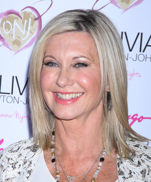 Olivia Newton John Medium Straight Hairstyle - Medium Grey - side view