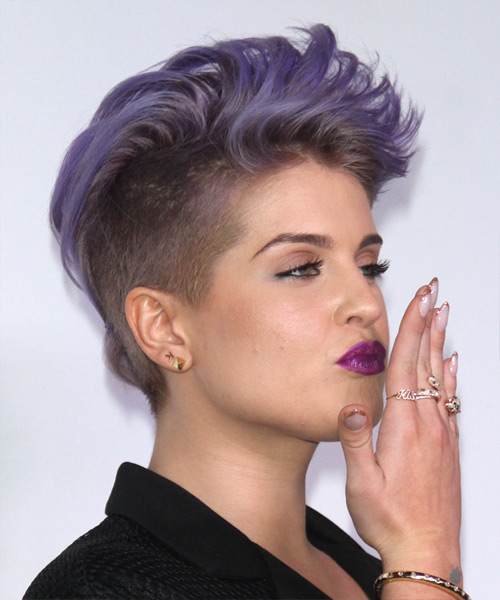 Kelly Osbourne Short Straight Hairstyle - Purple - side view