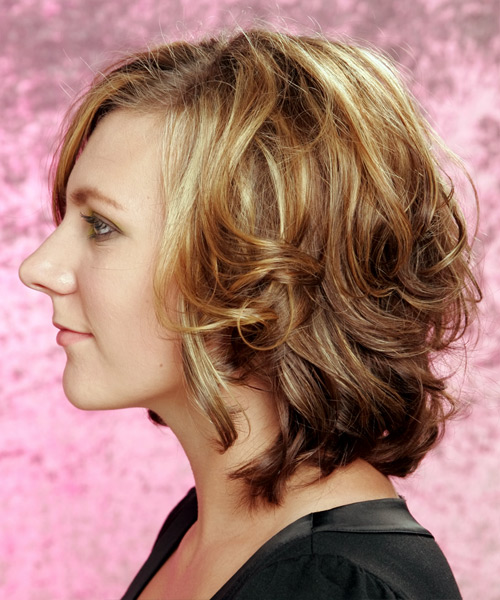 Medium Wavy Casual Hairstyle - Dark Blonde (Caramel) Hair Color - side on view
