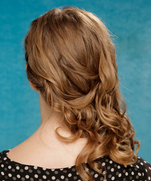 Long Curly Casual Hairstyle - Light Brunette Hair Color - side on view