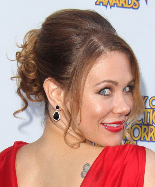 Maitland Ward Curly Formal Updo Hairstyle with Side Swept Bangs - Light Brunette Hair Color - side on view